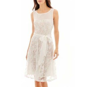 Danny and Nicole White Lace Fit & Flare Dress 14